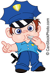 jeune, policier