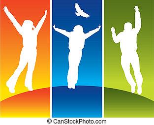jeune, sauter, trois personnes