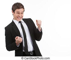 jeune, yes!, isolé, quoique, fond, homme affaires, blanc, faire gestes, heureux