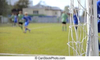 jeunesse, football, (soccer), allumette