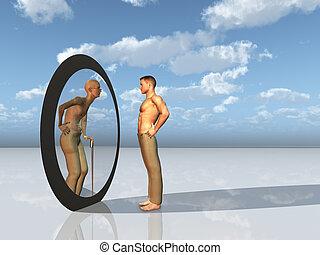 jeunesse, soi, avenir, voit, miroir