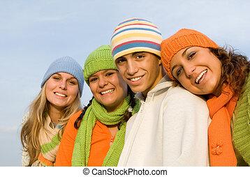 jeunesse, sourire, groupe, heureux