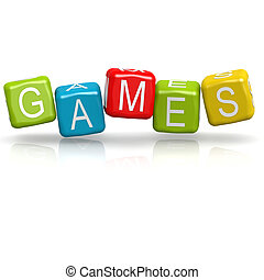 jeux, cube, mot