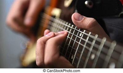jeux, guitariste, musique, rocher