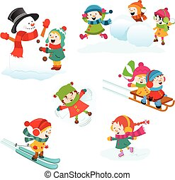 jeux, hiver, ensemble