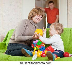 jeux, jouets, maison, famille