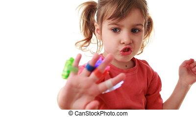 jeux, lampes poche, voler doigts, main, vaisseau spatial, laser, girl, dépeindre