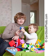 jeux, mère, enfant, maison