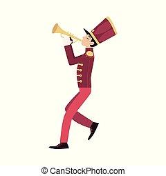 jeux, parade, trumpeter, jeune, participant, trumpet.
