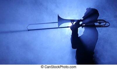 jeux, trumpeter, enfumé, studio, trombone, projecteur, homme