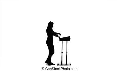 jeux, virage, moitié, silhouette, piano, girl