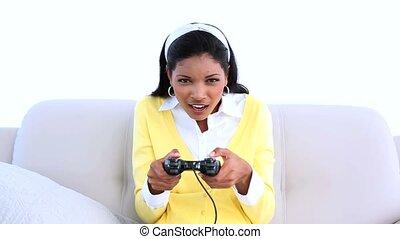 jeux visuels, sofa, femme, jouer