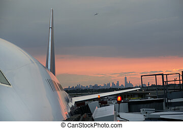 jfk, aéroport, avion, civil