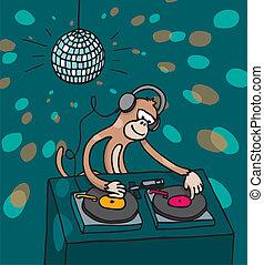 jockey disque, musique, singe, jouer