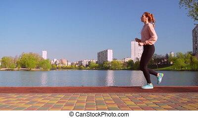 joggeur, courses, caucasien, dehors