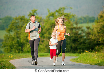 jogging, famille, dehors