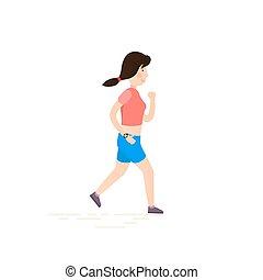 jogging., fonctionnement femme