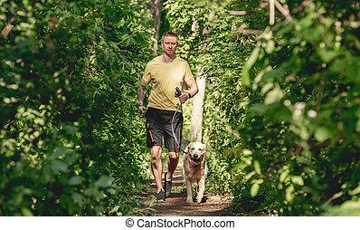jogging homme, bois, chien