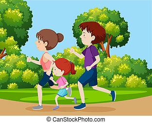 jogging, parc, famille