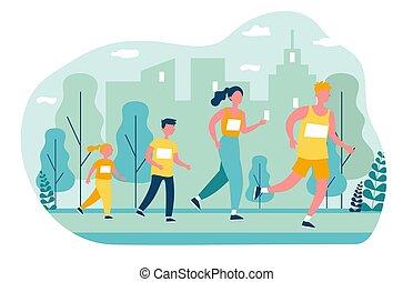 jogging, parc, famille, ville