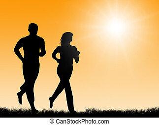 jogging, soleil
