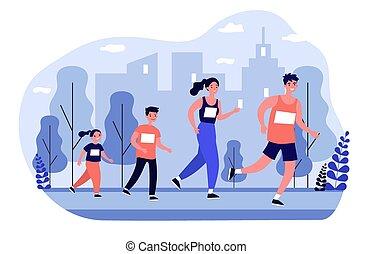 jogging, ville parc, famille