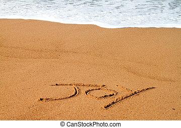 joie, écrit, plage