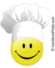 joie, cuisine, heureux, visage smiley