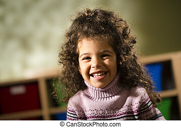 joie, jardin enfants, appareil photo, enfant, sourire heureux