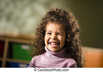 joie, jardin enfants, enfant femelle, sourire heureux