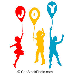 joie, message, ballons, enfants, tenue