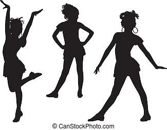 joie, silhouette, enfants