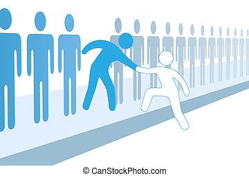 joindre, aide, gens, haut, membre, équipe, nouveau