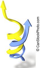 joindre, reussite, point, flèches, spirale, haut, progrès