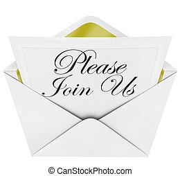 joindre, s'il vous plaît, officiel, enveloppe, nous, note, invitation