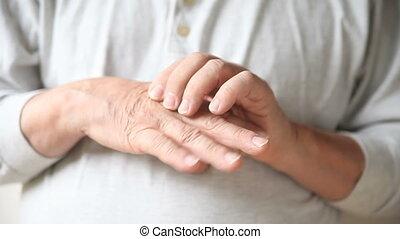 joints, doigt, douloureux, homme