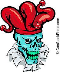 joker, dessin animé, crâne
