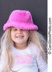 joli, chapeau, girl, rose
