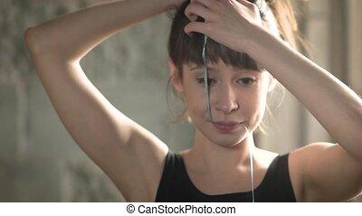 joli, elle, balloon, redresse, jeune, cheveux, bouche, tenue, girl, ficelle