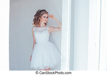 joli, mariage, girl, court, robe blanche