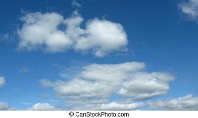 jonc, nuages, lapse., sky., rapidement, temps