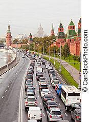 jonc, quai, automobile, moscow., kremlin, hour., confiture, russie