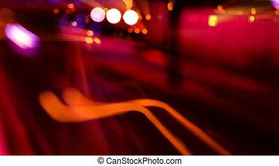 jonc, timelapse, autoroute, scène, barcelone, trafic, temps, nuit, espagne