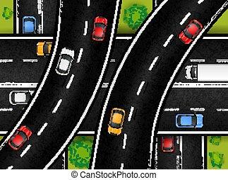 jonction, composition, route, vue