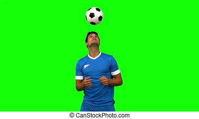 jonglerie, football, tête, homme, o