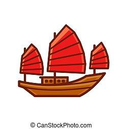 jonque, bateau, chinois, icône