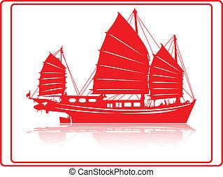 jonque, boat., chinois