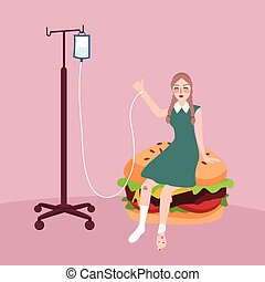 jonque, femme, nourriture, hamburger, because, malade