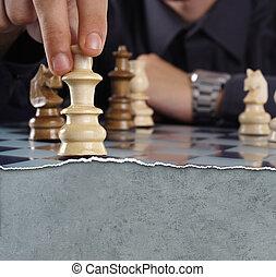 jouant échecs, homme affaires