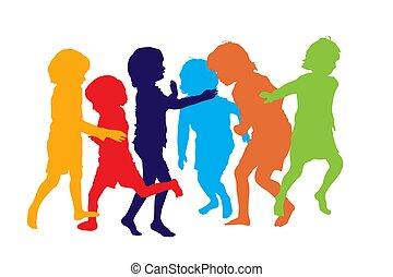 jouer, 3 enfants, silhouettes